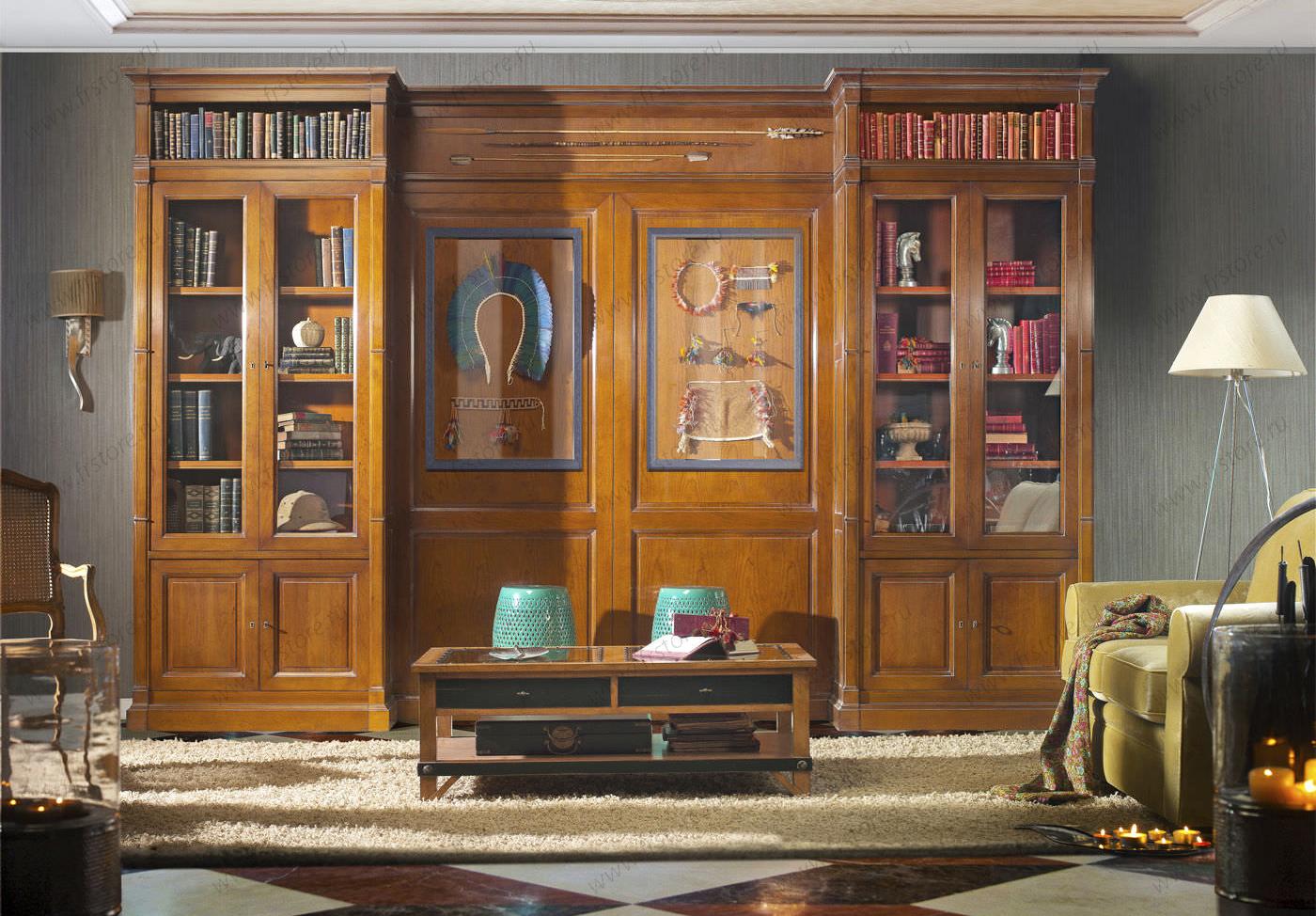Классические шкафы для книг история стили фото.