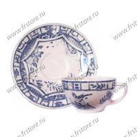 Набор из 2 чашек для чая с блюдцами. Oiseau Bleu Mono
