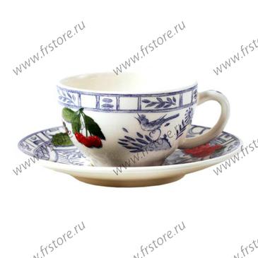Набор из 2 чашек для чая с блюдцами. Oiseau Bleu Fruits