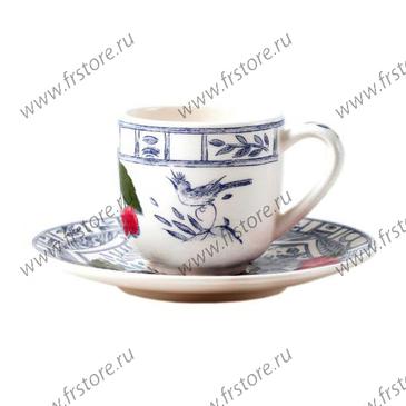 Набор из 2 чашек для кофе с блюдцами. Oiseau Bleu Fruits