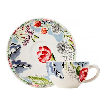 Набор из 2 чашек для чая с блюдцами. Flora