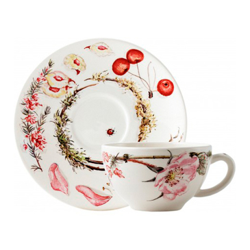 Чашка с блюдцем для завтрака. Bouquet gien