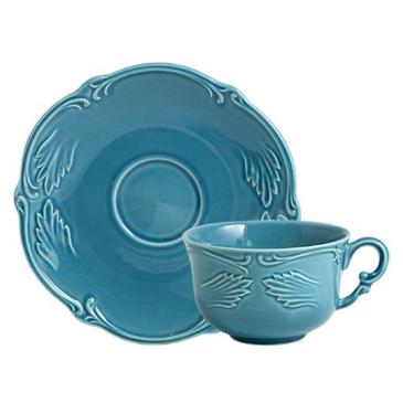 Чашка для чая с блюдцем. Rocaille Bleu givre
