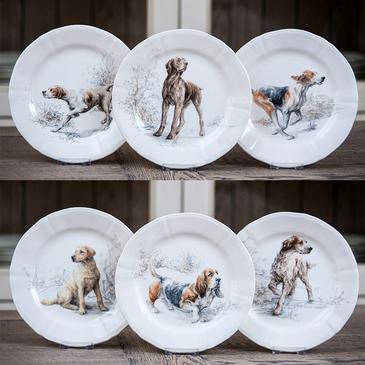 Десертная тарелка Собаки. Sologne gien