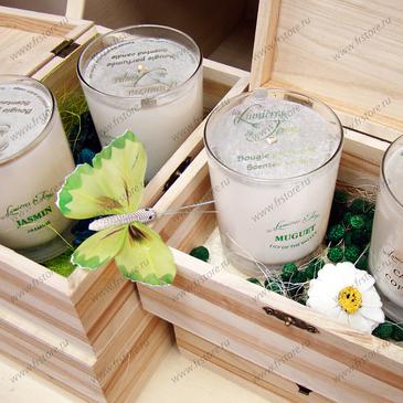 Свеча ароматическая в деревянной шкатулке