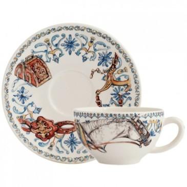 Чашка с блюдцем для завтрака. Chevaux du Soleil