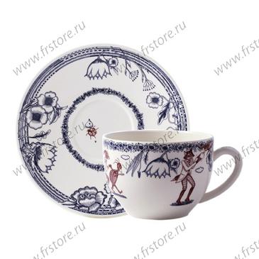 Большая чашка с блюдцем. Fables de La Fontaine