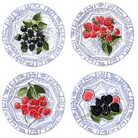 Набор из 4 десертных тарелок. Oiseau Bleu Fruits