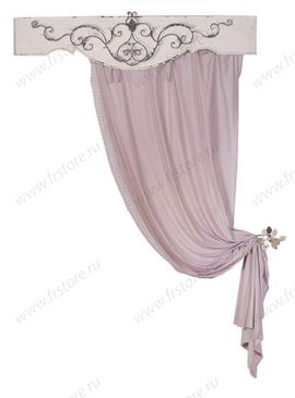 Розовая штора с вышитой каймой
