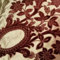 Портьера атласная с вышивкой бархатом Италия